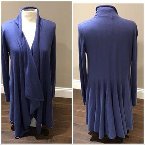 Sweaters - Blue long 100% cashmere cardigan coat